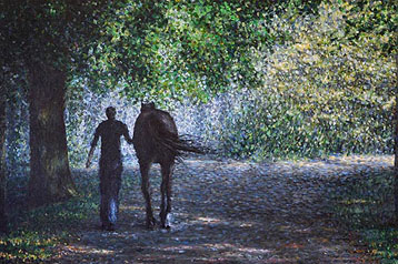 Painting Sunday Silence equestrian art