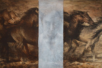 equine painting contemporary, modern art by Michael Hotz galopping horses